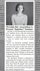 """Westside Bar Association to Present """"Injustice"""" Seminar"""