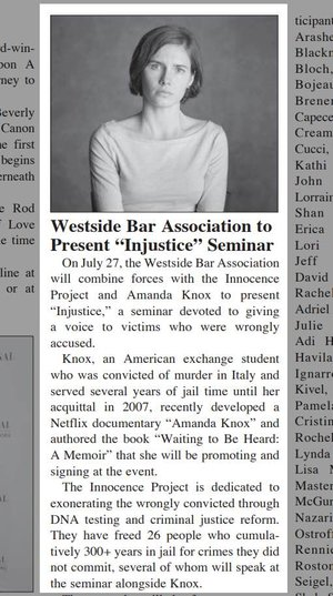 "Westside Bar Association to Present ""Injustice"" Seminar"